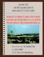 Slide ĐÁNH GIÁ tác ĐỘNG của KHU CÔNG NGHIỆP NAM ĐÔNG hà tới đời SỐNG của các hộ dân PHƯỜNG ĐÔNG LƯƠNG THÀNH PHỐ ĐÔNG hà