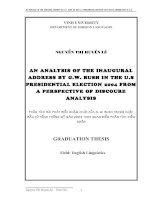 An analysis of the inaugural address by g w bush in the u s president election 2004 from a perspective of discoure analysis