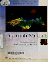Lập trình Matlab và ứng dụng : Dùng cho sinh viên khối khoa học và kỹ thuật – Nguyễn Hoàng Hải