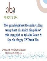 Slide mối quan hệ giữa sự thỏa mãn và lòng trung thành của khách hàng đối với chất lượng dịch vụ tại alba resort & spa của công ty CP thanh tân