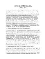 các đoạn văn mẫu viết các chủ đề thi nói chứng chỉ B anh văn