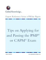 Tài liệu Tips on Applying for and Passing the PMP or CAPM Exam pptx