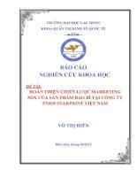 HOÀN THIỆN CHIẾN lược MARKETING MIX của sản PHẨM BAO bì tại CÔNG TY TNHH STARPRINT VIỆT NAM