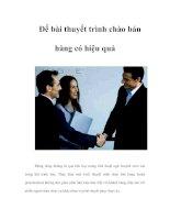 Tài liệu Để bài thuyết trình chào bán hàng có hiệu quả pdf