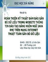 Slide HOÀN THIỆN kỹ THUẬT đảm bảo gắn bó dữ LIỆU TRONG WEBSITE THÔNG TIN đào TẠO BẰNG NGÔN NGỮ JAVA RMI TRÊN MẠNG INTERNET (1)