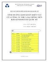 BÀI tập NHÓM môn KINH DOANH QUỐC tế TÌNH HUỐNG KHÓ KHĂN HIỆN NAY của CÔNG TY NHỰA đại ĐỒNG TIẾN KHI KINH DOANH QUỐC tế