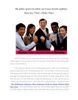 Tài liệu Bộ phận quản trị nhân sự trong doanh nghiệp: Bạn hay Thù? (Phần Một) doc
