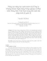 """""""Nâng cao năng lực cạnh tranh của Công ty Chứng khoán Ngân  hàng Nông nghiệp và Phát triển Nông thôn Việt Nam trong bối cảnh hội nhập kinh tế quốc  tế"""