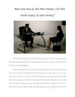 Tài liệu Bạn nên làm gì khi thỏa thuận với Nhà tuyển dụng về mức lương? docx