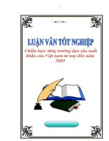 """Tài liệu Luận văn tốt nghiệp """"Chiến lược tăng trưởng dựa vào xuất khẩu của Việt nam từ nay đến năm 2003"""" pdf"""