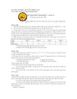 Tài liệu ĐỀ THI MÔN SINH HỌC - LỚP 11