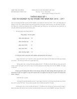 Bài soạn Thông báo số 1 về thi NVSP trẻ - 2011