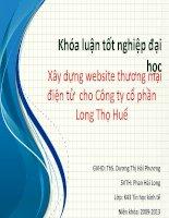 Xây dựng website thương mại điện tử  cho công ty cổ phần long thọ huế