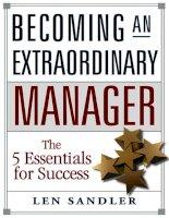 """Ebook -  Becoming An Extraordinary Manager: The 5 Essentials for Success - """"Trở thành Người quản lý tuyệt vời: 5 điều cần thiết để thành công"""""""