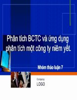 Tài liệu Phân tích BCTC và ứng dụng phân tích một công ty niêm yết. pptx