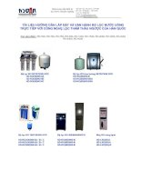 Tài liệu hướng dẫn lắp đặt và vận hành máy lọc nước uống trực tiếp với công nghệ lọc thẩm thấu ngược docx