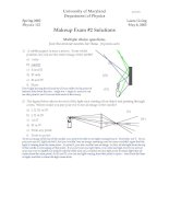 Tài liệu Makeup Exam #2 Solutions- Department of Physics pptx