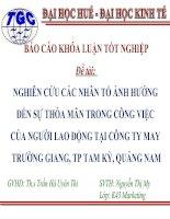 Slide NGHIÊN cứu các NHÂN tố ẢNH HƯỞNG đến sự THỎA mãn TRONG CÔNG VIỆC của NGƯỜI LAO ĐỘNG tại CÔNG TY MAY TRƯỜNG GIANG, TP TAM kỳ, QUẢNG NAM