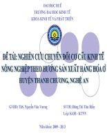 Slide NGHIÊN cứu CHUYỂN đổi cơ cấu KINH tế NÔNG NGHIỆP THEO HƯỚNG SẢN XUẤT HÀNG HÓA ở HUYỆN THANH CHƯƠNG, NGHỆ AN