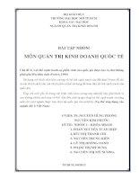 Bài tập môn quản tri kinh doanh quốc tế