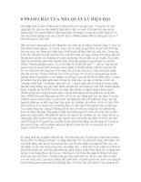 Tài liệu 8 PHẨM CHẤT CỦA NHÀ QUẢN LÝ HIỆN ĐẠI doc