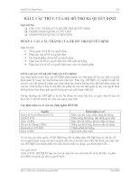 Tài liệu BÀI 2. CẤU TRÚC CỦA HỆ HỖ TRỢ RA QUYẾT ĐỊNH docx