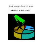 Tài liệu Danh mục các vấn đề của người chủ sở hữu để khởi nghiệp pdf