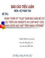 Slide HOÀN THIỆN kỹ THUẬT đảm bảo gắn bó dữ LIỆU TRÊN các WEBSITE KHI cập NHẬT CSDL BẰNG NGÔN NGỮ ASP TRÊN MẠNG INTERNET