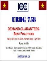 URDG 758 tài liệu tóm lược về bảo lãnh, thanh toán, chứng từ