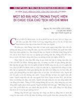 Tài liệu MỘT SỐ BÀI HỌC TRONG THỰC HIỆN DI CHÚC CỦA CHỦ TỊCH HỒ CHÍ MINH ppt