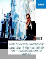 Slide nghiên cứu các yếu tố ảnh hưởng đến sự cam kết gắn bó với tổ chức của nhân viên công