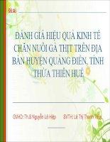 Slide ĐÁNH GIÁ HIỆU QUẢ KINH tế CHĂN NUÔI gà THỊT TRÊN địa bàn HUYỆN QUẢNG điền, TỈNHTHỪA THIÊN HUẾ