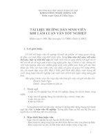 Tài liệu TÀI LIỆU HƯỚNG DẪN SINH VIÊN KHI LÀM LUẬN VĂN TỐT NGHIỆP ppt