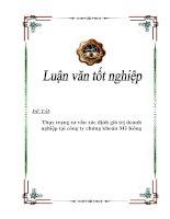 """Tài liệu Luận văn tốt nghiệp """"Thực trạng tư vấn xác định giá trị doanh nghiệp tại công ty chứng khoán Mê Kông"""" ppt"""
