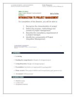 Tài liệu Session 1 - Introduction to project management ppt
