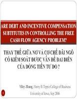 Slide VIỆC THAY THẾ của nợ và cơ CHẾ đãi NGỘ có KIỂM SOÁT được vấn đề đại DIỆN của DÒNG TIỀN tự DO HAY KHÔNG