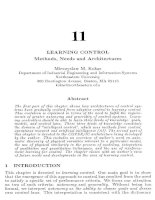 Tài liệu An Introduction to Intelligent and Autonomous Control-Chapter 11: Learning Control: Methods, Needs and Architectures pptx
