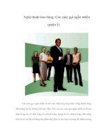 Tài liệu Nghệ thuật bán hàng: Các cuộc gọi ngẫu nhiên (phần 1) pptx