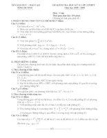 Tài liệu Đề kiểm tra HKII môn Toán lớp 12 năm 2008-2009 Bình Dương docx