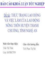 Slide THỰC TRẠNG LAO ĐỘNG và VIỆC làm của LAO ĐỘNG NÔNG THÔN HUYỆN THANH CHƯƠNG, TỈNH NGHỆ AN