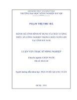 Đánh giá tình hình sử dụng và chất lượng thức ăn công nghiệp trong chăn nuôi lợn tại tỉnh hà nam
