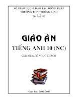 Tài liệu Giáo án Tiếng anh 10 (Nâng cao) pdf