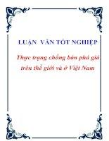 """Tài liệu Luận văn tốt nghiệp """"Thực trạng chống bán phá giá trên thế giới và ở Việt Nam"""" ppt"""