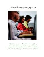 Tài liệu Bí quyết marketing dịch vụ pptx