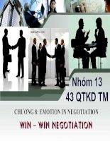 Đàm phán kinh doanh  - EMOTION IN NEGOTIATIONWIN – WIN NEGOTIATION