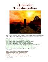 Tài liệu Quotes for Transformation pdf