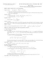 Bài giảng 2 đề thi thử Đại học môn Toán và đáp án tham khảo