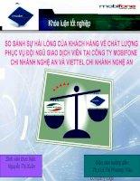 Slide SO SÁNH sự hài LÒNG của KHÁCH HÀNG về CHẤT LƯỢNG PHỤC vụ đội NGŨ GIAO DỊCH VIÊN tại CÔNG TY MOBIFONE CHI NHÁNH NGHỆ AN và VIETTEL CHI NHÁNH NGHỆ AN