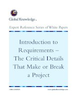 Tài liệu Introduction to Requirements – The Critical Details That Make or Break a Project pptx