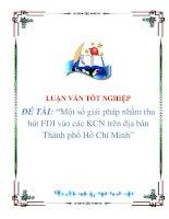 """Tài liệu Luận văn """"Một số giải pháp nhằm thu hút FDI vào các KCN trên địa bàn Thành phố Hồ Chí Minh"""" doc"""
